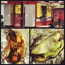 100 Pgh Taco Truck Carne Asada With Kimchi And Spicy Jerk Chicken With Avocado Cream Yelp