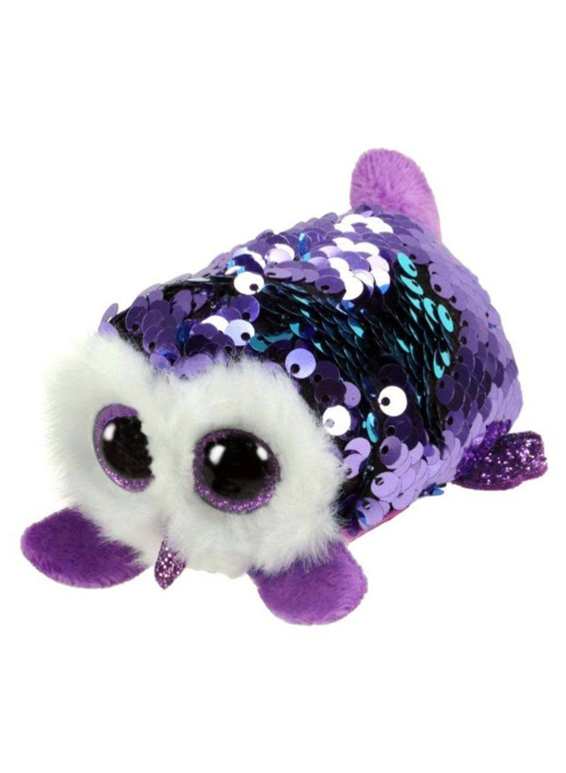 TY Teeny Flippable Sequins Owl Mimi Purple Plush Toy - 2""
