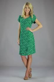 modest dresses in green bird print