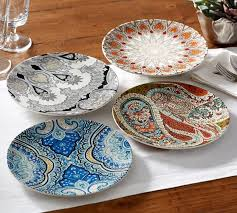 Paisley Salad Plates Mixed Set of 4