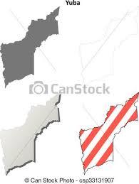 Vector Clipart Of Yuba County California Outline Map Set