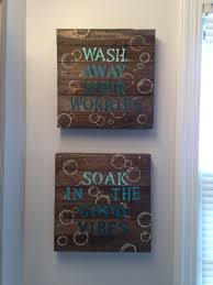 Coastal Bathroom Decor Pinterest by Blue Diy Bathroom Wall Decor 10 Wood Canvas From Walmart