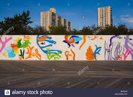 Joe Strummer Mural New York City by Mural On The Wall Of The New York Aquarium Coney Island Brooklyn