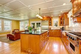 entwurf der braunen holz küche mit stahlgeräten bar küche insel mit frischen blumen und pendelleuchten familienzimmer im hintergrund northwest usa