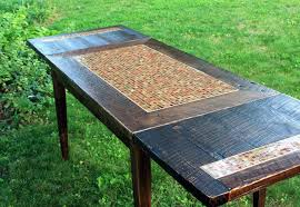 crafted dining table mosaic tile rustic contemporary
