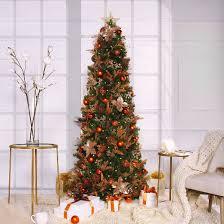 Slim Pre Lit Christmas Trees by Fake Flocked Christmas Trees Target