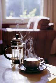 A Hot Cup Of French Pressed Coffee On Cold Morning
