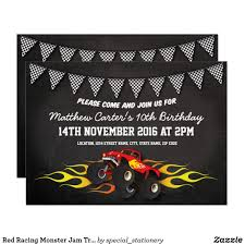 Red Racing Monster Jam Truck Bunting Birthday Card | Birthday Bash ... Birthday Monster Party Invitations Free Stephenanuno Hot Wheels Invitation Kjpaperiecom Baby Boy Pinterest Cstruction With Printable Truck Templates Monster Birthday Party Invitations Choice Image Beautiful Adornment Trucks Accsories And Boy Childs Set Of 10 Monster Jam Trucks Birthday Party Supplies Pack 8 Invitations