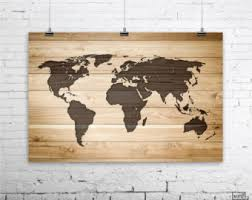 Wooden World Map Wall Art Rustic Wood Large Poster Print