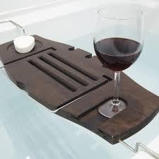 Bamboo Bathtub Caddy With Wine Glass Holder by Umbra Aquala Bamboo Bathtub Caddy Walnut Kitchen Stuff Plus