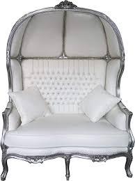 casa padrino barock 2er ballon sofa weiß lederoptik silber