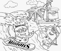 Summertime Break Sail Boating Surfing Water Sports Beach Wear Minions Love Bananas Coloring Sheets