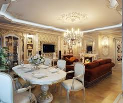 How To Decorate Living Room Dining Combo With Wood Flooring And Crystal Chandelier Plus Wall