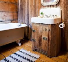Bathroom Decoration With Rustic Hardwood Flooring