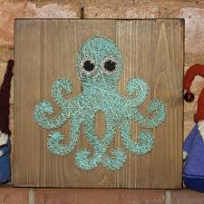 Nursery Decoration Octopus String Art Made On Reclaimed Wood Planks Perfect Decor Fo