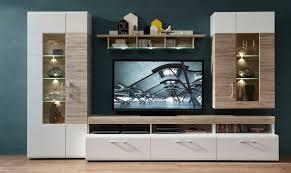details zu wohnwand spirit wohnzimmer set vitrine hängeregal wandboard tv regal weiß led