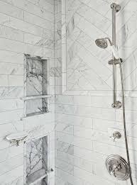 marble chevron accent tiles in shower transitional bathroom