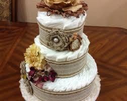 Gender Neutral Antique Shabby Chic Rustic Diaper Cake Elegant Baby