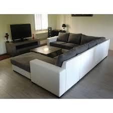 grand canapé d angle 6 places gris et blanc spacieux et