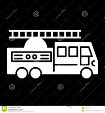100 Black Fire Truck With Ladder Solid Icon Vector Illustration Isolated On