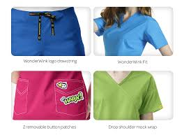 Ceil Blue Print Scrub Jackets by Wonderwink Expect Compliments