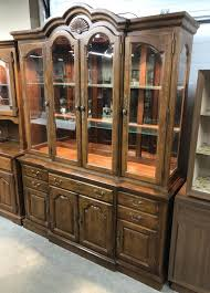 large glass oak wood lighted china cabinet by highland house