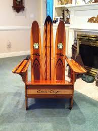 Navy Blue Adirondack Chair Cushions by Adirondack Chair Made Of Vintage Wooden Water Skis Driftwood