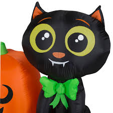 Walmart Inflatable Halloween Cat by Halloween Airblown Inflatable 3 5 Ft Cat And Pumpkin By Gemmy