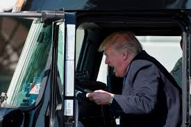 President Trump Climbs Into A Truck, Meets With Truckers