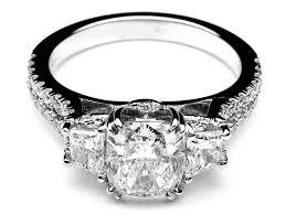 Three Stone Cushion Cut Diamond Vintage Style Split Band Engagement Ring For Large Diamonds 162