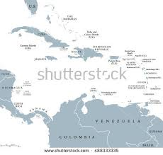 Caribbean Countries Political Map National Borders Stock Vector 488333335