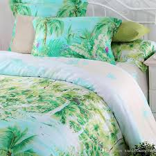 Blue Green Turquoise Bedding Sets Queen King Size Palm Tree Silk