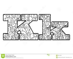Anti Coloring Book Alphabet The Letter K Vector Illustration