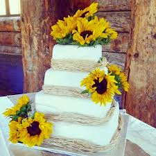Wedding Cakes Rustic Sunflower And Raffia