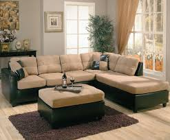 Buchannan Microfiber Sofa Instructions by Two Tone Tan Microfiber U0026 Dark Brown Faux Leather Sectional Sofa
