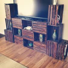 Crate Furniture DIY TV Stand All Crates Facing Forward For More Storage Space