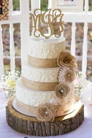 Rustic Burlap And Lace Wedding Cake Deerpearlflowers