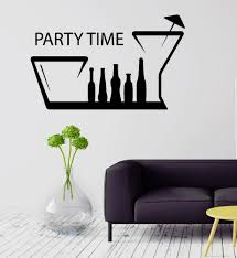 Party Time Bar Kitchen Decor Alcohol Drink Wall Sticker Vinyl Decal Ig2090