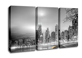 Architecture 3 Panel Black N White City Canvas Art