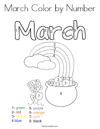 March Color By Number Coloring Page