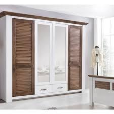 landhaus kleiderschrank 4 türig pinie weiss braun mit spiegel