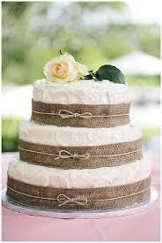 Hessian Wedding Ideas Cake With Burlap Ribbon Around Layers