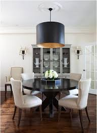 Dining Room Decorating With Black Table And Lamp Shade