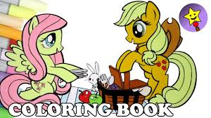 Fluttershy And Applejack Coloring Book Page MLP My Little Pony Colouring Kids Art