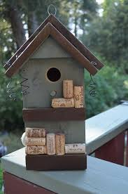 Wine Cork Birdhouse Functional For Birds Repurposed Decorative Bird House Painted Sage Green