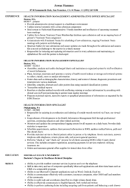 Download Health Information Specialist Resume Sample As Image File