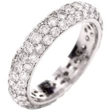 Preowned Modern Pave set 2 05 Carats Diamond Cluster Eternity Band