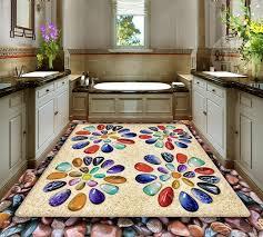 3d Floor Tiles Sandy Colored Stones Custom Painting Wallpaper Vinyl Flooring Bathroom Waterproof