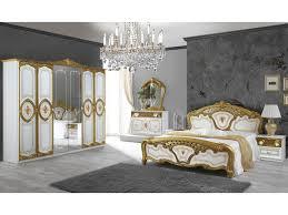 schlichter schlafzimmer set salerno gold weiß schrank 6 türig 160x200 cm 2x nachttisch kommode spiegel