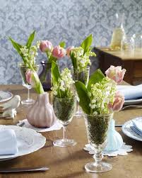 Spring Table Decorating Ideas Flowes Glasses Tulips Moss Lily Of The Valley